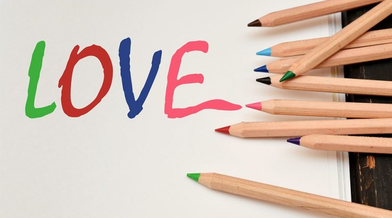 Colored pencils love letters
